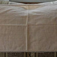 Vintage 1940's Lightweight Cotton Embroidered Table Runner/Hand Crocheted Lace Trim/Hand Made Table Runner/1940's Hand Made Dresser Scarf