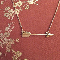 Arrow of Love Arrow Necklace in Raw Brass - charm on chain