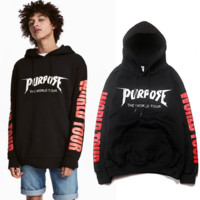 Black PURPOSE THE WORLD TOUR Sweatshirts Hoodies