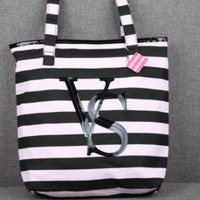 Vs women Pink Striped shopping Handbag Shoulder Bag