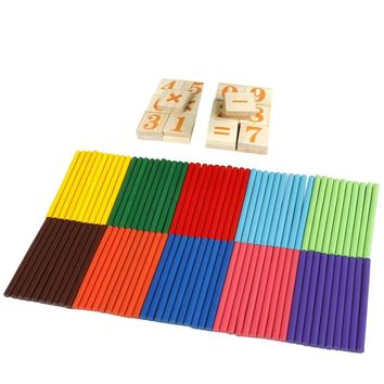 Wooden Number Cards and Counting Rods with Box Education Learning Educational Arithmetic Toys