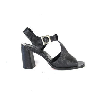 90s Black Leather Sandals 90s Chunky Heels T Strap Heels Black Strappy Sandals Grunge Ankle Strap Heels Open Toe Sandals Size 8.5