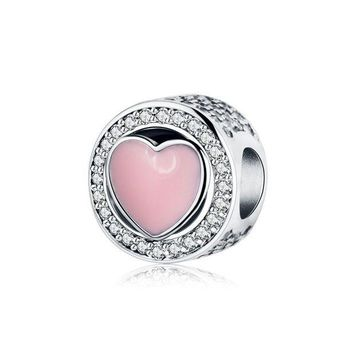 CREY8UH Fits Original Pandora Charms Bracelet 925 Silver Beads Jewelry Making With Pink Enamel Heart 2017 Valentine's Day Gift Berloque