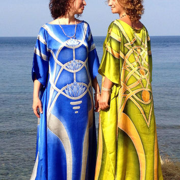 Pistachio raw silk long dress caftan, Batik silk design Sacred geometry oversized golden dress Full length handmade gown Yellow green dress