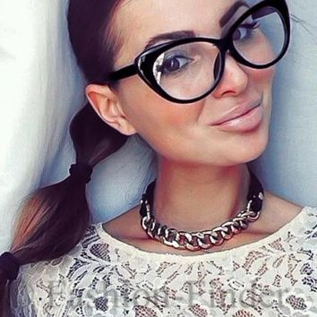 573ef048be Retro Sexy Women Eyeglasses Frame Fashion Cat Eye Clear Lens lad
