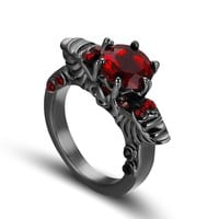 Vintage Shiny Red CZ Ring Red Garnet Rings For Women Skull Ring Men Engagement Jewelry Black Gold Filled Rings Bagues Femme
