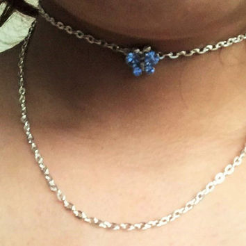 Double chain crystal butterfly blue choker Silver Butterfly Choker Butterfly Choker  Charm Jewelry Insect Jewelry Silver Monarch Butterfly
