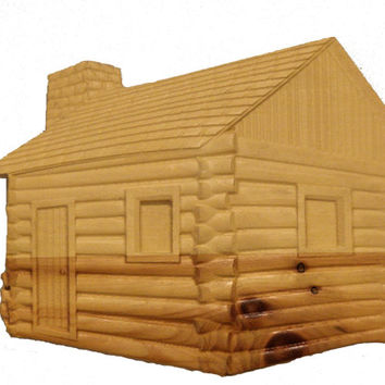 3D Wood Cabin Carving - 3D Wood Wall Art - 3D Wall Hanging - Cabin Decor