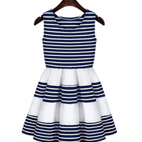 Striped Pleated Dress  10711