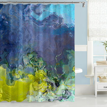Abstract art shower curtain, blue and lime green shower curtain, Skyline