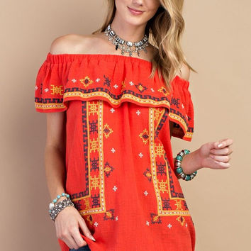 Boho Embroidered Linen Off-Shoulder Top