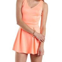 Neon Pleated Skort Romper by Charlotte Russe