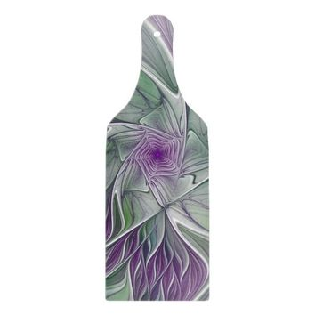 Flower Dream, Abstract Purple Green Fractal Art Cutting Board
