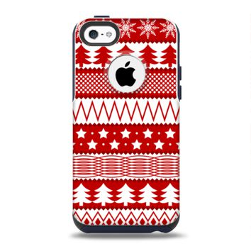 The Red and White Christmas Pattern Apple iPhone 5c Otterbox Commuter Case Skin Set