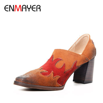 ENMAYER Retro Round Toe Square Heels Mules Pumps High Heels Slip-On Cow Suede Office Ladies Spring&Autumn Shallow Woman Shoes