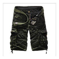 Men Shorts Casual Cargo Combat Camouflage Sports Pants   green camouflage