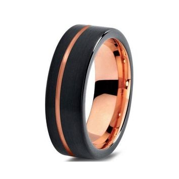 Black And Rose Gold Colors Mens Womens Tungsten Wedding Band With Comfort Fit