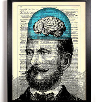 Mustached Man's Big Brain, Vintage Illustration, Eco Friendly Home, Kitchen, Bathroom, Nursery Decor, Dictionary Book Print Buy 2 Get 1 FREE