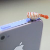 Kawaii EBI (Shrimp) SUSHI Iphone Earphone Plug/Dust Plug - Cellphone Headphone Handmade Decorations