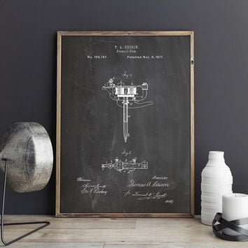 Stencil Pen, Edison Pen, Tattoo Wall Decor, Tattoo Wall Art, Edison Art, Stencil Pen Art,Tattoo Blueprint,Edison Printable, INSTANT DOWNLOAD