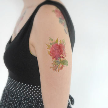 Floral Temporary Tattoo - Rose, Wildflower, Large, Vintage, Accessory