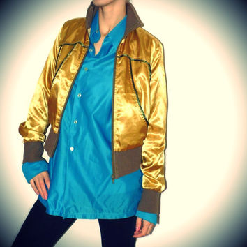 90s Golden sweatshirt Short bomber jacket Golden Satin Sweatshirt Vintage sport sweater Shiny Metallic Sport bomber