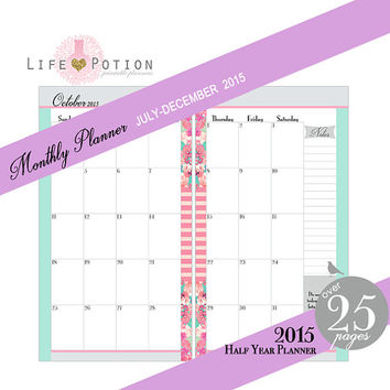 Dated Monthly Planner Printable - Half Year 2015 - Personal Size 3.75 x 6.75 in. - Instant Download PDF - Plus Bonus Pages