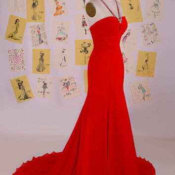 Sexy V Neck Beading Chiffon Mermaid Prom Dress/Mermaid Evening Gown/Sexy Party Dress/Red Open Back Long Mermaid Prom Dress DAF0038