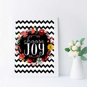 choose joy print, inspirational quote printable, instant download art printable quote, dorm wall art printable, floral wall art