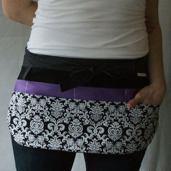 Utility Apron/Teacher Apron with 8 pockets and loop in black whit damask and purple