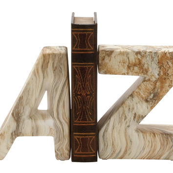 Attractive Ceramic Marble Finish Bookend Pair 6In W 8In H