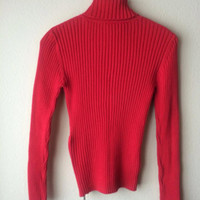 SALE MEDIUM 90s Tommy Hilfiger Red Ribbed Turtleneck Sweater // Women's Vintage Classic Tommy Logo Sweater