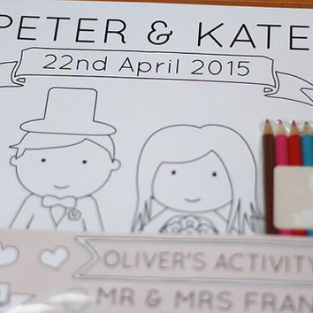 Personalised Wedding Children's Activity Pack - Wedding Favour - Wedding Breakfast Colouring Pack - Childrens Wedding Favour