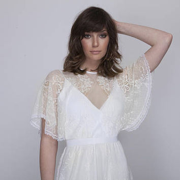 Bohemian lace wedding dress, wedding lace dress, white lace wedding dress, Barzelai wedding dress