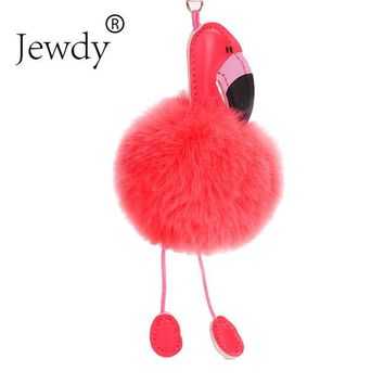 Jewdy Cute pompom keychain flamingo key chain fluffy fake rabbit fur ball women car bag pompon key ring pom pom holder Christmas
