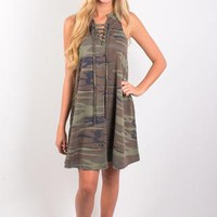 Z Supply All Tied Up Dress - Camo Green
