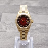 Ladies Rolex Datejust 18ct Gold Oyster Perpetual With Factory Red Diamond Dial