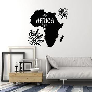 Vinyl Wall Decal Africa Map African Style Home Decoration Room Stickers Mural (ig6056)