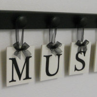 Musical Wall Decor Personalized Hanging Letters includes Wooden 7 Peg Hooks and Letters MUSIC and NOTE in Black and White