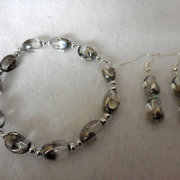 Clear and Gray Stretch Bracelet & Dangle Earrings