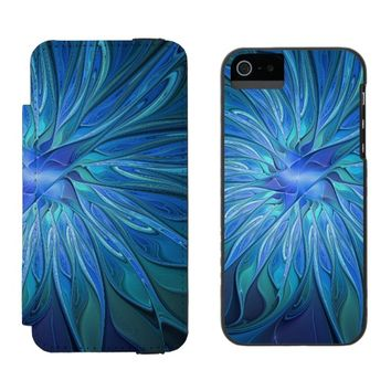 Blue Flower Fantasy Pattern, Abstract Fractal Art iPhone SE/5/5s Wallet Case