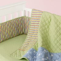 Baby Crib Bedding: Baby Crib Blue & Green Dots & Stripes Crib Bedding