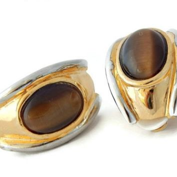 Chunky Brown Tiger Eye Earrings Two Tone Silver and Gold Clip On
