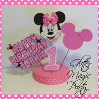 Minnie Mouse Centerpiece - Minnie Mouse Inspired Party - Pink Minnie Mouse - Minnie Mouse Party Decoration - Personalized with Name and Age