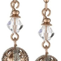 1928 Jewelry Pink Champagne Dual Drop Earrings