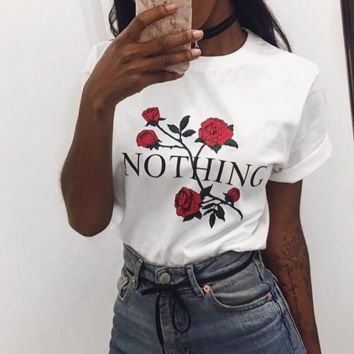 Womens Nothing Rose Print Blouse Short Sleeve Tops Causal T Shirt Tee
