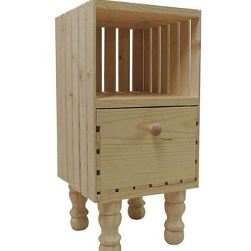 Crate with drawer. Nightstand . End table . Natural unfinished