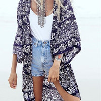 Dark Blue Tribe Pattern 3/4 Sleeve Loose Kimono - Choies.com