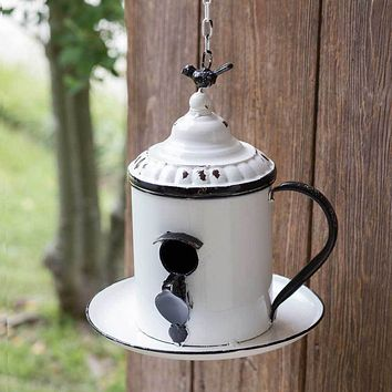 Farm House Country Style Yard Garden Hanging Coffee Break Birdhouse Outdoor