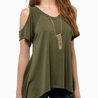 Green Shoulder Cutout V-neck Asymmetrical T-Shirt